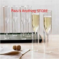 ダブルウォールグラス シャンパン フルート ワイン チューリップカクテル ウェディングパーティ 1504