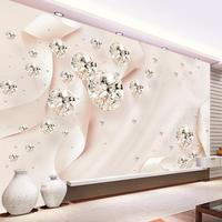 3D クリエイティブ ピンクリボンシルク壁絵画 ダイヤモンドジュエリー 寝室 520 7/17
