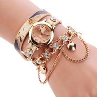 ユニセックス 女性ラインストーン リベットチェーンクォーツブレスレット腕時計 レディース腕時計 186