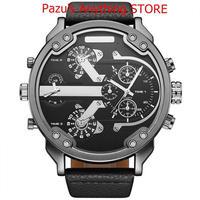 男性腕時計 巨大なビッグサイズ 男性スポーツ腕時計 アナログ 革生地 クォーツ腕時計 1740