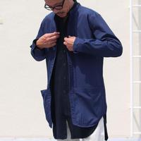 AUD グリストーンW コットンナイロン高密度ギャバ ルーズFIT バンドカラー ツールポケ 長袖シャツ(全2カラー)