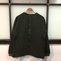 AUD 「尾州」ストライプキルト ノーカラー スナップジャケット