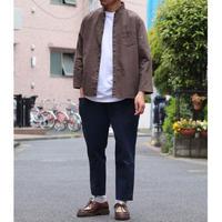 AUD  ソフトリネンコットンキャンバス スタンドスモールカラー9分袖シャツジャケット