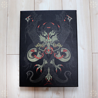 Purification Dragon / 三ツ首黒金色竜画