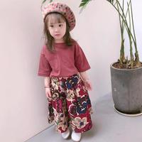 春夏Tシャツ+ワイドパンツ花柄🌸2点セットアップ