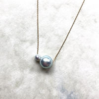 Through necklace Akoya natural 9.5 + 4 mm