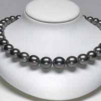 グレー系13mmグラマラスなグラデーション南洋黒蝶真珠ネックレス<16121515>