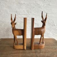 古物/ガゼル夫婦 木製ブックエンド 12cm