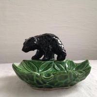 陶器製木彫熊トレー