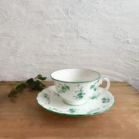 ノリタケ/若草色小花のカップ&ソーサー