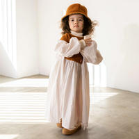 "【 folk made 21AW 】 boa gather dress "" ワンピース "" / off white×brown boa / LL(140-155)"