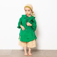 "【 folk made 21SS 】taffeta blouse "" カラーブラウス "" / green / LL(140-155)"