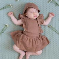 "【 MY LITTLE COZMO 20SS 】ROMPER BABY - LINEN  ANAIS82  "" ロンパース ""  / TILE LINEN/  9m  - 18m"