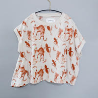 "【 michirico 21SS 】Flora and fauna asymmetry T(MR21SS-08)"" Tシャツ"" / ベージュ / 90-115cm"