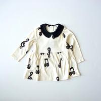 "【 mini rodini 20AW 】Notes aop ls dress(20750123) ""ワンピース""  / Offwhite"
