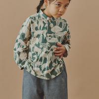 """【 ミナペルホネン 20AW 】YA1081P  life puzzle """" シャツ """"  / moss green / 90-100cm"""