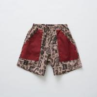 【 eLfinFolk 2019SS 】elf-191F14 stripe×alphabetic print shorts / burgundy