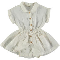 "【 MY LITTLE COZMO 20SS 】DRESS BABY - LINEN -SANDY82  "" ワンピース&ブルマセット ""  / IVORY LINEN /  18m  -  24m"