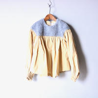 【 folk made 2019AW 】boa gather blouse / grayboa x ivory / size LL(140-155cm)