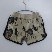 "【 michirico 21SS 】Flora and fauna short pants (MR21SS-09)"" ショートパンツ"" / ライトオリーブ / L (115-130cm)"