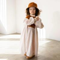 "【 folk made 21AW 】boa gather dress "" ワンピース "" / off white×brown boa / S-L"