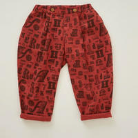 【 eLfinFolk 2018AW 】elf-182F06 alphabetic print pants / brick red / 110-130cm