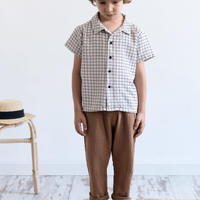 "【 MY LITTLE COZMO 20SS 】SHIRT KIDS - CARTAGO - ORIOLK85 "" シャツ ""  / STONE GRID / 3 -  8歳"