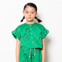 "【 folk made 21SS 】face print blouse "" ブラウス "" / green print / S-L"