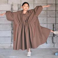 【 SWOON 20AW 】ドローストリングギャザードレス [5-sw14-404-115] / Red