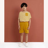 "【 GRAY LABEL 2020SS】Pocket Tee  ""ワイドTシャツ"" / Mustard/Off White Stripe / 90-130cm"
