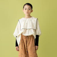 """【 folk made 21AW 】 embroidery rogo sailor """" ブラウス """" / 2.pale beige×black / L(125-140)"""