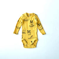 "【 mini rodini 20AW 】Mozart aop ls body(20740131) ""ロンパース""  / Yellow / 68-74cm"