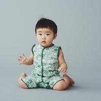 """【 ミナペルホネン 20SS 】YS8042P  sieste """" ロンパース """" / light green / 70cm - 80cm"""