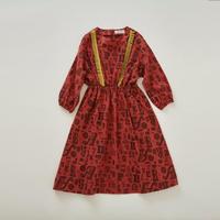 【 eLfinFolk 2018AW 】elf-182F03 alphabetic print dress / brick red / 90,100cm