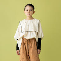 """【 folk made 21AW 】 embroidery rogo sailor """" ブラウス """" / 2.pale beige×black / S-M"""