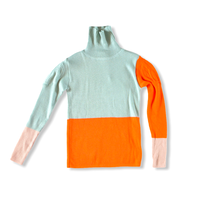 【 franky grow 2020AW 】MULTI COLOR SWELL SHOULDER HIGH-NECK KNIT [20FWKTTP-118]  / MINT-ORANGE-PINK