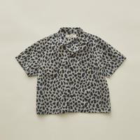 【 eLfinFolk 2020SS 】elf-201F16 leopard open collared shirts / gray / 110-130cm