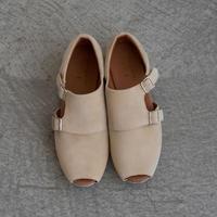 【 UNIONINI 2019SS 】UN02-1 double monk strap shoes / Beige  / 22 - 24.5cm