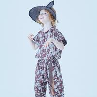 "【 eLfinFolk 21SS 】Leaf paisley open collar shirts(elf-211F25)""カラーシャツ"" /  burgundy / 100-130"