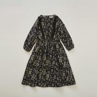 【 eLfinFolk 2018AW 】elf-182F03 alphabetic print dress / black / 90,100cm