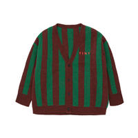 【 tiny cottons 2019SS 】AW19-364 STRIPES CARDIGAN / aubergine/deep green