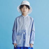 "【 GRIS 21SS 】Stripe patchwork Shirt [GR21SS-SH007] ""2WAYシャツ"" / BLUE / S-L"