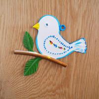 ブリキのオーナメント/小鳥(ブルー)