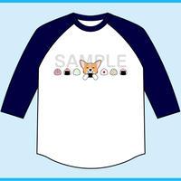 おにぎりコーギー 7分袖ベースボールTシャツ(ボディ色ホワイト×袖ネイビー)