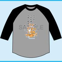 ちびもつもればやまとなる 7分袖ベースボールTシャツ(ボディ色杢グレー×袖・ブラック)
