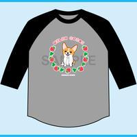 いちごみるく 7分袖ベースボールTシャツ(ボディ色杢グレー×袖ブラック)