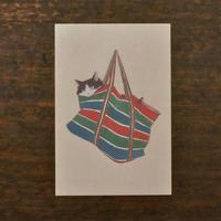 ささきめぐみ ポストカード 「おばあちゃんバッグ猫」