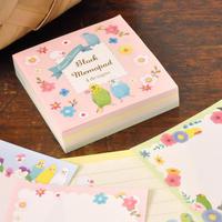 ブロックメモパッド Beaux Oiseaux  小鳥とお花