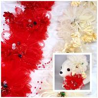 豪華❗️ビーズストレッチチョーカー紅白/20cm×10本