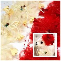 豪華❗️ビーズストレッチチョーカー紅白/25cm×10本
